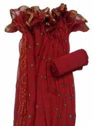 Ladies Red Nazmin Chiffon Saree