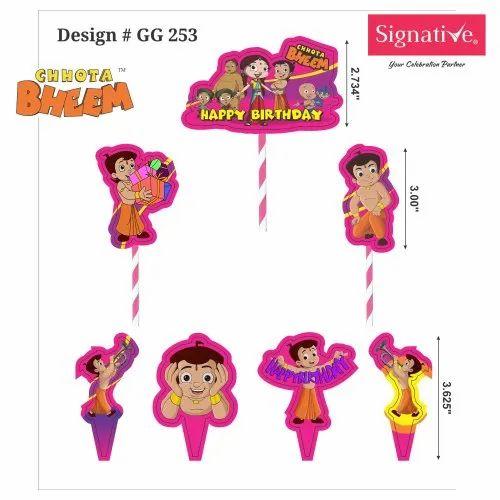 Multicolor 7 Piece Chhota Bheem Cake Decora, Packaging Type: Packet