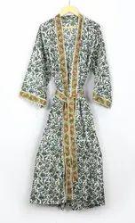 Hand Block Printed Kimono Robe