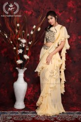 Zari Border Frill Saree, Dry clean, 6 m (with blouse piece)