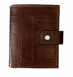 Crocodile Pattern Leather Tri-Fold Men Wallet With RFID Protection