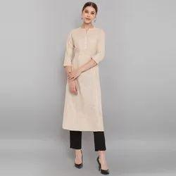 Janasya Women's Beige Cotton Flex Kurta With Side Pocket (JNE3606)