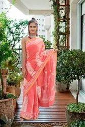 6.3 M Printed Ladies Party Wear Cotton Zari Border Saree