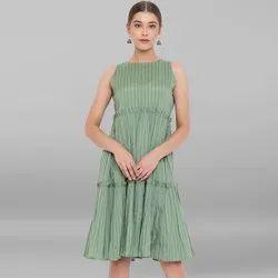 Janasya Women's Green Pure Cotton Ethnic Dress (J0153)