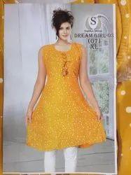 Sawaliya Long Ladies Sleeveless Rayon Kurtis, Size: XL