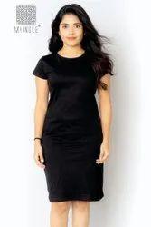 Ladies Black Plain Dress, Half Sleeves, Size: L, Xl And Xxl