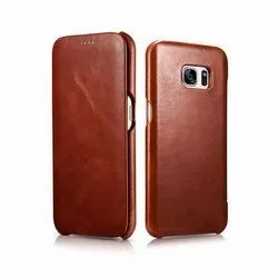 Apple iPhones Pure Brown Mobile Leather Flip Cover, Size: 5.5
