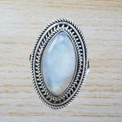 Rainbow Moonstone 925 Sterling Silver Gemstone Jewelry Ring WR-1487