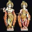 Lord Shri Radha Krishna Yugal Jodi Multi Color Paint Marble Statue