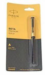 Blue Plastic Parker Beta Premium Gold Ball Pen, For Writing