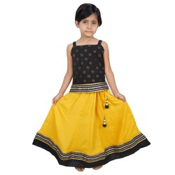 Wedding Ethnic Party Wear Lehenga Choli For Kids In Black And Yellow Color