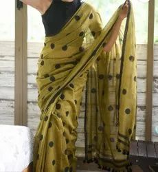 Printed Casual Wear Ladies Handloom Cotton Saree, 6.3 m(with blouse piece)