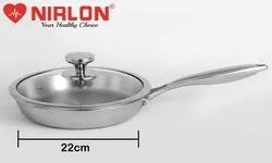 Nirlon Platinum Tri-ply Stainless Steel Frying Pan 22 cm with Glass Lid