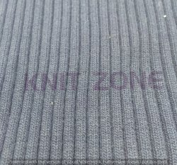 Gray Plain Flat Knitted Rib Fabric