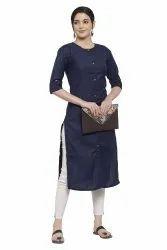 Women Solid Straight Cotton Kurta((Navy Blue)