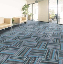 Commercial Building FIBRES Carpet Tile Flooring, For Indoor, Anti-Skidding