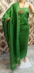 Unstitched Casual Wear Ladies Green Designer Suit, Handwash