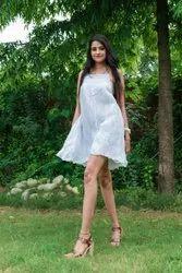 Embroidery Cotton Western Wear Mini Dress, Size: S-XXL