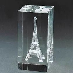 Stone Transparent Rectangle Cube Crystal Photo Frame, For Decoration, Size: 2*2*3 Inch