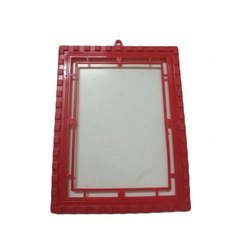 Red Rectangle Plastic Mirror Frame