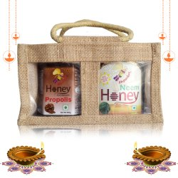 Diwali Health Gift Pack Honey Enriched With Propolis, 500g & Neem Honey, 500 G