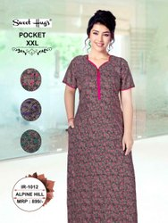 Full Length Printed Half Sleeves Designer Women Cotton Nighty
