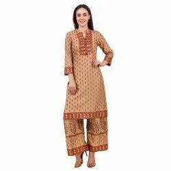 Women Kurta And Palazzo Set Rayon