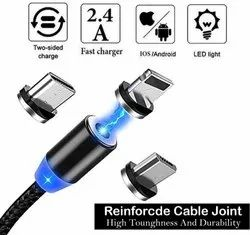 Magnetic Charger Cable 90 Degree, Braided Cords Compatible with Android, Type-C and iPhones Devices