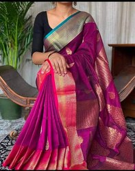 ANIKSAREE Wedding Wear TANT HANDLOOM BANARASI, 6.3 m (with blouse piece)