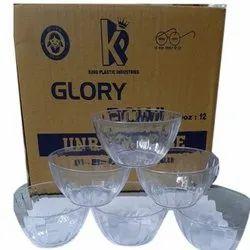 Transparent Round Glory Glass Bowl, For Home, Set Contains: 6 Piece
