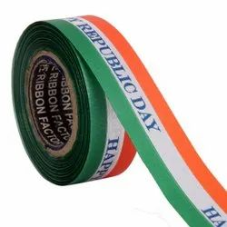 Single Satin Happy Republic Day Ribbons 25mm/1''inch Ribbon 20mtr Length
