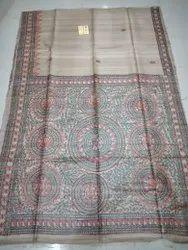 Tussar Natural Handwoven Pure Tassar Gichha Hand Painted Madhbani Saree, 6.3 M (with Blouse Piece)
