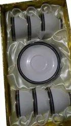 Ceramic White Tea Cup Plate Set