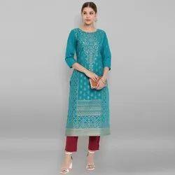 Janasya Women's Turquoise Pure Cotton Kurta (JNE3547)