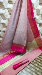 Pink Border Ethnic Formal Wear Ladies Saree, 90 Cm, 6 m (with blouse piece)