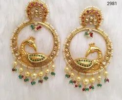 Jadau Kundan Peacock Designer Earrings