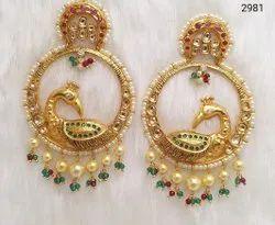 Jadau Kundan Peacock Designer Earrings
