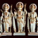 Lords Shri Ram Sita Jodi Gold Touch White Marble Statue