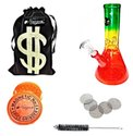 Glass Bong BOB Morley Rasta Bong 8 Inch 100mm Beaker Bowl Bong With Full Smoking Accessories