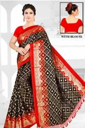 Black Cotton Bandhani Saree, Length: 6.3m (with Blouse Piece)