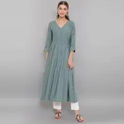 Janasya Women's Green Weaved Cotton Kurta(J0151)