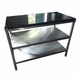 Stainless Steel Black Work Table With Granite Top, Size: 4 X 2 X 3ft