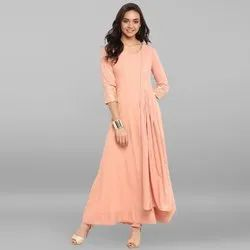 Janasya Women's Peach Poly Crepe Kurta With Attached Dupatta (JNE3311)