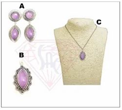 Purple Oxidized Necklace Set With Stylish Earring And Pendant, Occasion: Anniversary, Size: 9x19mm,12mm- 10x20mm