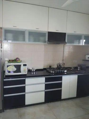 Black White L Shape Ply Wood Kitchen Cabinets Rs 2200 Square Feet Jay Jalaram Furniture Id 22872431162