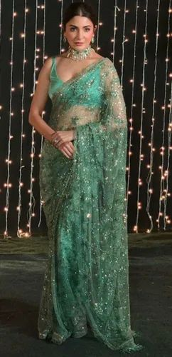 Green net embroidery saree blouse party wear., नेट साड़ी - Indifashion4u,  Secunderabad | ID: 22876261973