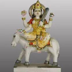 Goddess White Marble Maa Sitla Devi Statue