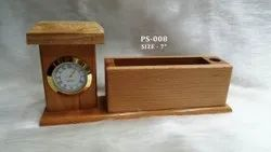 Small House Wooden Pen Stand with Clock