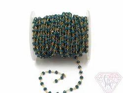 Blue Sapphire Beaded Rosary Chain