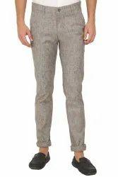 Flat Trousers Office Wear Mens Gray Cotton Linen Trouser, Size: 30-40 Inch